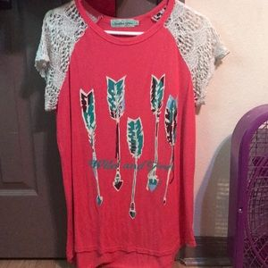 Wild and free pink flowy women's top